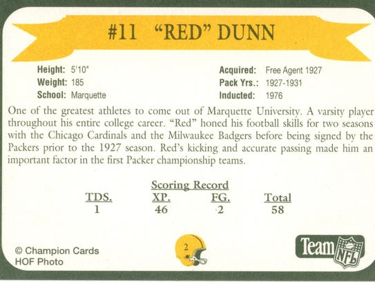 Packers Hall of Fame player Red Dunn