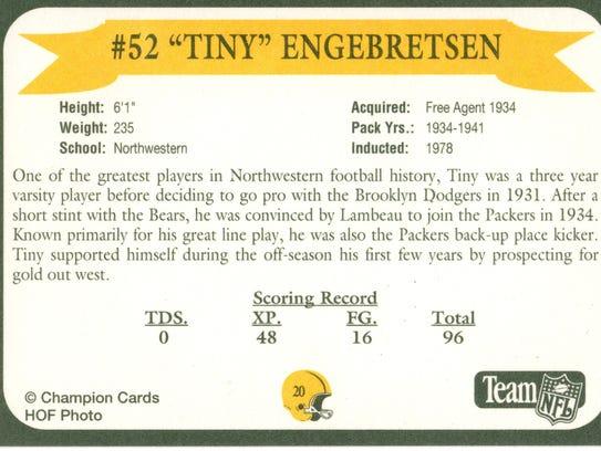 Packers Hall of Fame player Tony Engebretsen