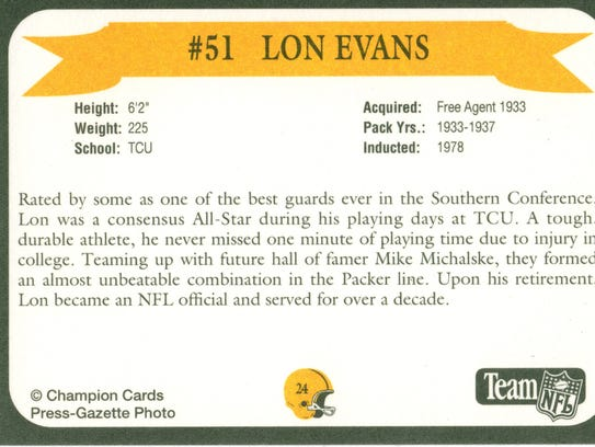 Packers Hall of Fame player Lon Evans