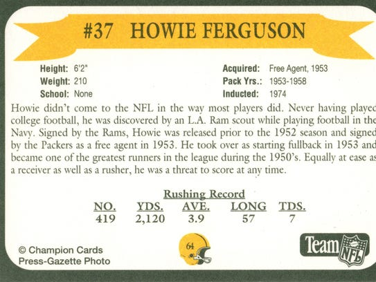 Packers Hall of Fame player Howie Ferguson