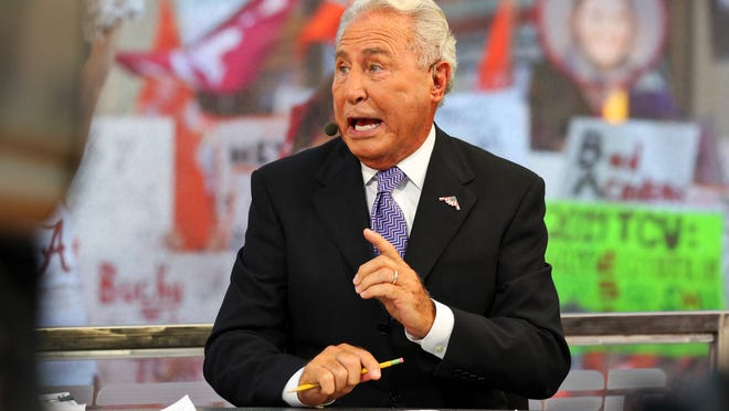 Sep 5, 2015; Fort Worth, TX, USA; ESPN analyst Lee Corso during the live broadcast of ESPN College GameDay at Sundance Square. Mandatory Credit: Ray Carlin-USA TODAY Sports