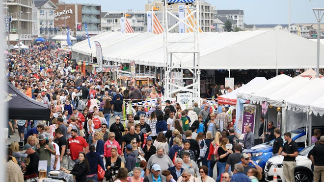 Crowds pack Ocean Boulevard in a past edition of the Hampton Beach Seafood Festival. The event will not be held in 2020.