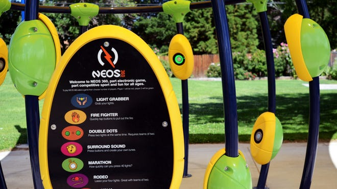 Sparks city officials unveiled a new gaming system Monday morning July 14, 2014 at Recreation Park, 98 Richards Way. The system is to encourage parks visitors to exercise.