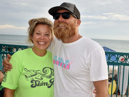 Shore lb. officials Tiffany Ellison and Tim Capra at the start of the Skim Jam.