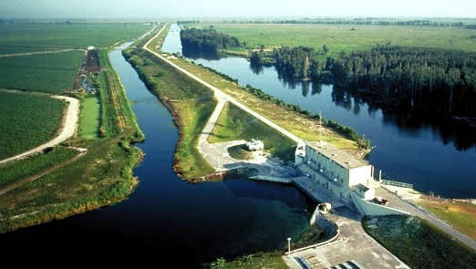 The Hoover Dike dike almost completely encloses Lake Okeechobee with the only gap at Fisheating Creek.