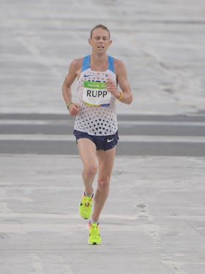 Aug 21, 2016: Galen Rupp (USA) during the men's marathon in the Rio 2016 Summer Olympic Games at Sambodromo.