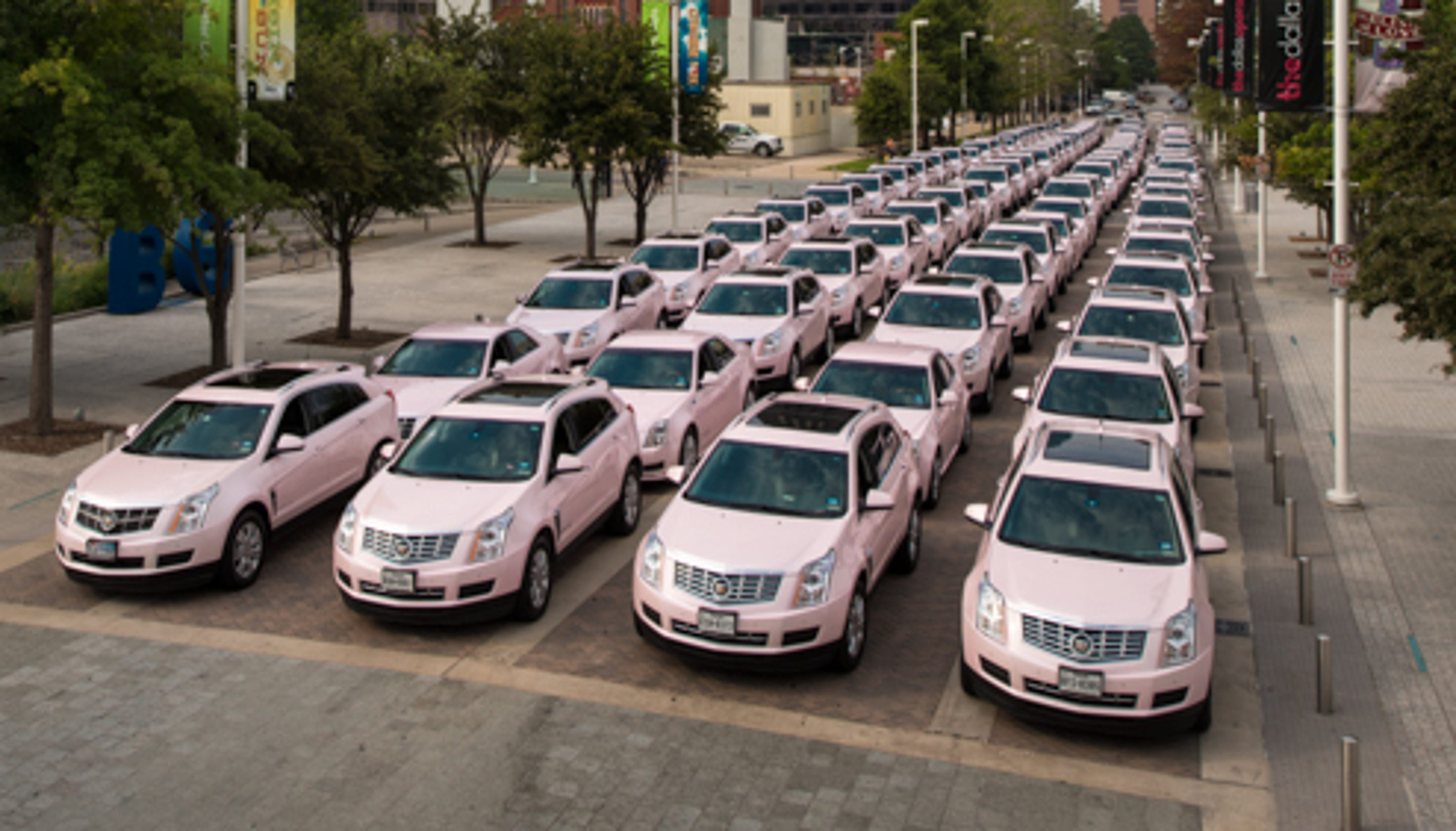 pink cadillacs gather for mary kay cosmetics rally. Black Bedroom Furniture Sets. Home Design Ideas
