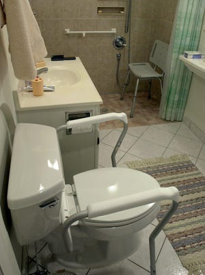 A remodeled bathroom can accommodate someone in a wheelchair or with a walker. The roll in shower includes niches for shampoo, soap, etc..., so there is no protruding shelves a person could hit in a fall.