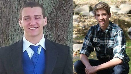 Chaz Rodziewicz (left) and Dylan Mullis were killed Sunday, April 9, 2017, in a car crash in White County.