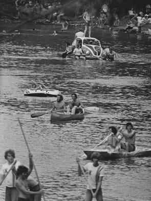 """A """"Bug"""" boat, 1977."""