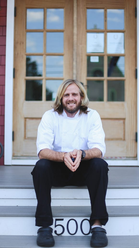 James Beard-nominated Chef Lucas Manteca will be at the helm of the new Taco Shop in Rio Grande. He's shown on the steps of his Red Store restaurant on Cape May Point.