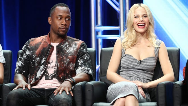 Actors J. Lee (L) and Halston Sage of 'The Orville' speak onstage during the FOX portion of the 2017 Summer Television Critics Association Press Tour at The Beverly Hilton Hotel on August 8, 2017 in Beverly Hills, California.