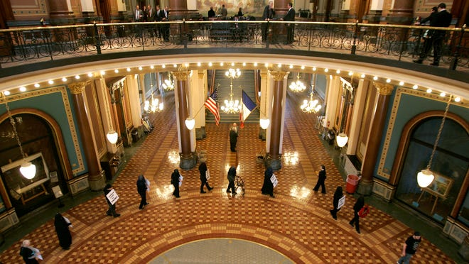 Built between 1871 and 1876, the inside of the Capitol features marble, works of art, fixtures and carvings in both wood and stone.