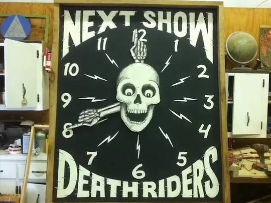 "A sign that O'Brien designed and painted for the ""Death Riders"" event at the 2016 Race of Gentlemen in Wildwood."