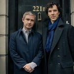 Martin Freeman, left, and Benedict Cumberbatch are back for another batch of 'Sherlock' episodes.