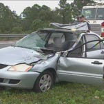 Car struck by lost tire on I-95 in Florida