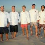 The Pensacola Celebrity Chefs — from left, Frank Taylor of Global Grill, Dann Dunn of H2O, Gus Silivos of Nancy's Haute Affairs, Jim Shirley of The Fish House and Irv Miller of Jackson's Steakhouse — will make their fourth trip to New York City to present Pensacola cuisine at the prestigious James Beard House on Oct. 1.
