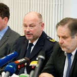 Press conference on German police officer accused of chopping up man over the Internet.