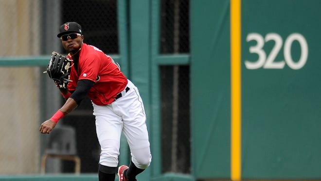 Indianapolis Indians outfielder Gregory Polanco throws a ball back to the  infield against the Columbus Clippers at Victory Field, Sunday, April 13, 2014, in Indianapolis.