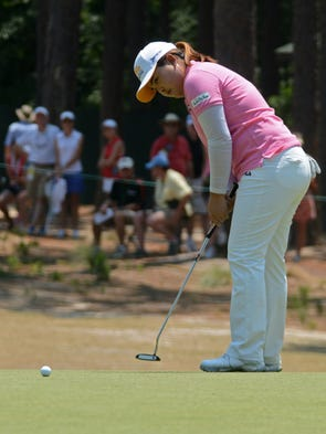 Inbee Park putts on hole number six during the first round of the U.S. Women's Open.