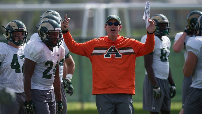 CSU coach Mike Bobo, shown giving instructions to his team during an Aug. 10 practice, is juggling position battles with game-preparation this week.