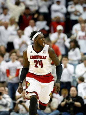 Louisville's Montrezl Harrell celebrates after one of his dunks against North Carolina. Jan. 31, 2015