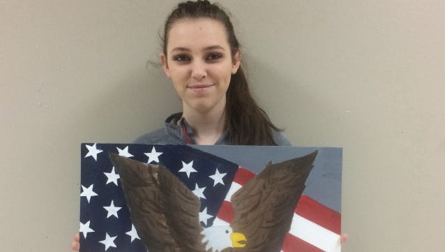 """Katelyn Plott, a sophomore at Yellville-Summit High School, recentwon $100 for finishing second in the """"Young American Creative Patriotic Arts Award"""" contest.The annual arts contest is held by the Auxiliary of Bull Shoals VFW Post 1341."""