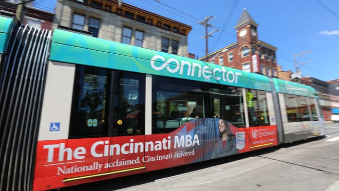 The Cincinnati Bell Connector passes by Findlay Market on Monday.