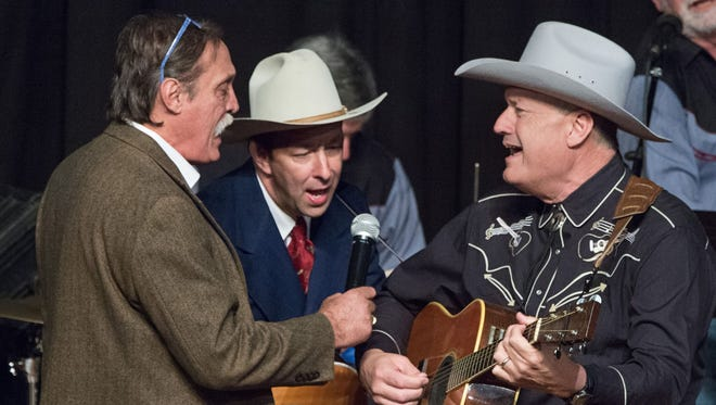 Emcee Barry Ancelet, left, sings with Hugh Harris and Terry Huval at the 2016 Tribute to Hank Williams