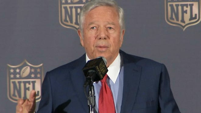 In this image from video provided by the NFL, New England Patriots owner Robert Kraft speaks at the NFL owners meetings in San Francisco, Tuesday, May 19, 2015. Now that Kraft is not appealing his team's punishments in the deflated footballs scandal, only his quarterback's challenge remains.