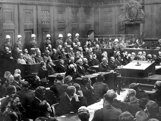 This is a general view of the War Crimes trial in Nuremberg,