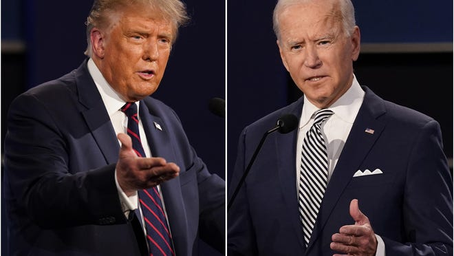 President Donald Trump gestures while speaking during the first presidential debate Tuesday, Sept. 29, 2020, at Case Western University and Cleveland Clinic, in Cleveland, Ohio.