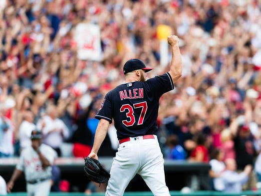 Indians closer Cody Allen celebrates after the last