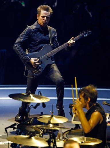 Matthew Bellamy and Dominic Howard of Muse performs