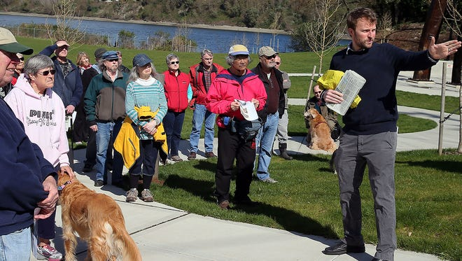 Josh Farley on a story walk tour of Evergreen Park.