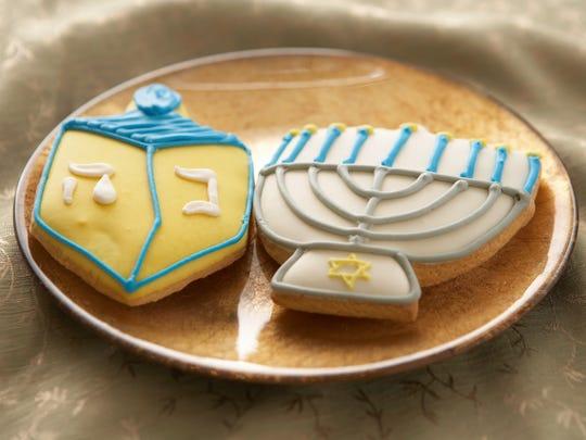 Hanukkah cookies on a plate.