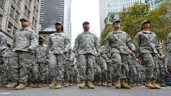 Army troops march in New York City's Veterans Day parade
