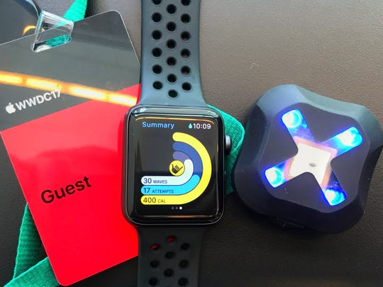 CEO David Troup attended Apple's Worldwide Developers Conference on June 5. Xensr's Sessions watch app, center, was featured in the keynote address.
