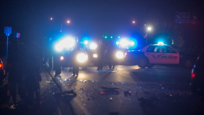 At about 12:40 a.m. Sunday, a Montgomery police vehicle was struck while parked on the side of the road next to Full Moon Bar & Grill, 3116 Wetumpka Highway. The striking vehicle spun into the road and was itself struck a few seconds later. At least one person was injured at the scene.