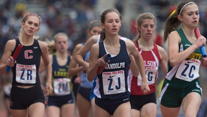 Randolph's Abby Loveys  during High School Girls Large School 4X800 during Thursday events at the Penn Relays in Philadelphia, Pa. on April 28, 2016.