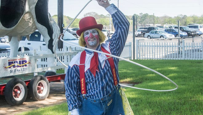 Trent McFarland of Montgomery is the rodeo clown entertainer and barrel man for the 2017 SLE Rodeo at Garrett Coliseum.