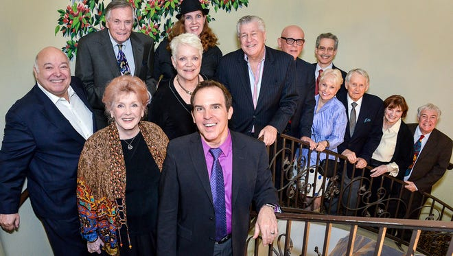 Cast members at post-show VIP reception: (L-R) Don Amendolia, Peter Marshall, Millicent Martin, Valorie Armstrong, Andrea McGuire, artistic director Michael Shaw, Bill Feingold, Bob Hardt, show director Gregg Oppenheimer, Joyce Bulifant, Roger Perry, Melinda Peterson and Phil Proctor.