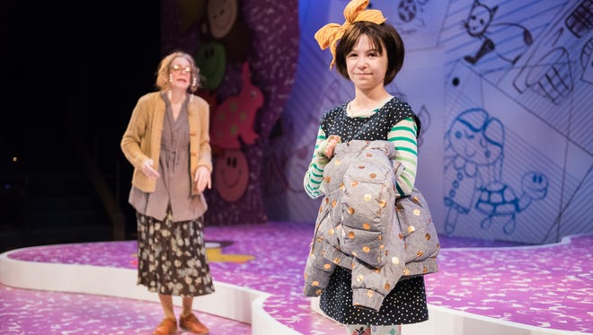 """Molly Domski (right) plays the title character in First Stage's """"Junie B. Jones Is Not a Crook."""" Kay Allmand (left) plays several adult roles in the production."""