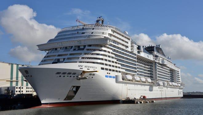 MSC Cruises' 171,598-ton MSC Meraviglia at the STX France shipyard in Saint-Nazaire, France.