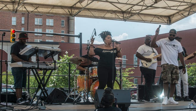 The band Souled Out Groove performs. A celebration of freedom, equality and culture was held during the second annual Juneteenth block party festival outside the Rosa Parks Museum on Saturday, June 23, 2018, in downtown Montgomery, AL.