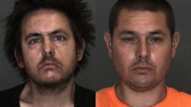 David Tippett and Jace Criado were arrested Wednesday, July 29, 2020, after Barstow police detectives served a search warrant and found firearms and stolen rare coins.