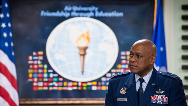 Lt. Gen. Anthony J. Cotton, Commander of Air University, inducts international officers into the Air University International Honor Roll at Maxwell Air Force Base are honored at Maxwell in Montgomery, Ala. on Friday April 20, 2018.