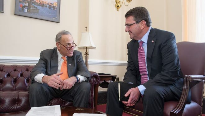 Sen. Charles Schumer, D-NY, and Ashton Carter