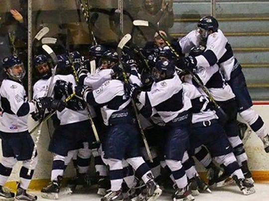 The Lebanon Valley College men's ice hockey team celebrates after an overtime win over Delaware.
