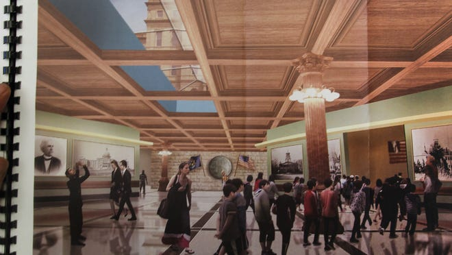 An artist's rendering showing the inside of a proposed $88 million Welcome Center planned for the Capitol.